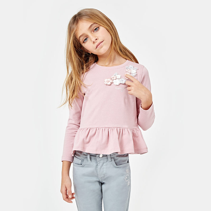 "Girls ""Flowers"" Peplum Hem Pink T-shirt"