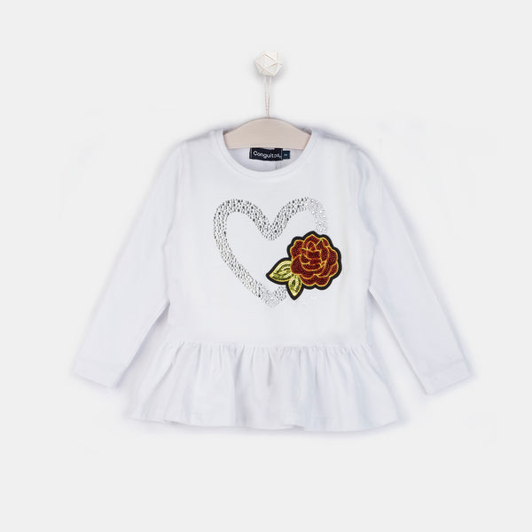 "Girls ""Heart"" Peplum Hem White T-shirt"