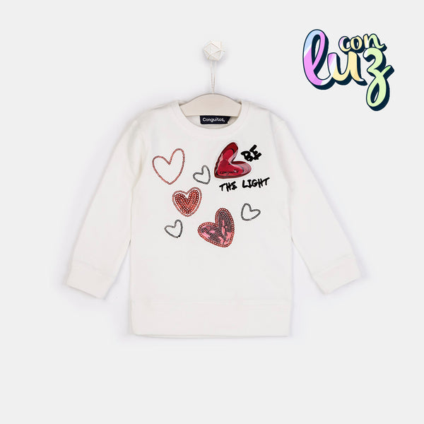 "Girls ""Hearts"" Ecru Sweatshirt with Lights"