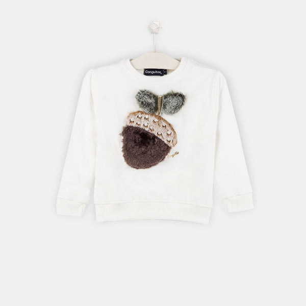 "Girls ""Acorn"" Ecru Faux Fur Sweatshirt"