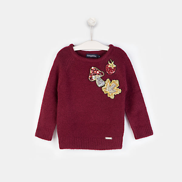 Girls Patches Wine Sweater