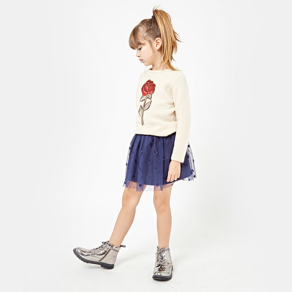 Girls Flower Ecru Sweater