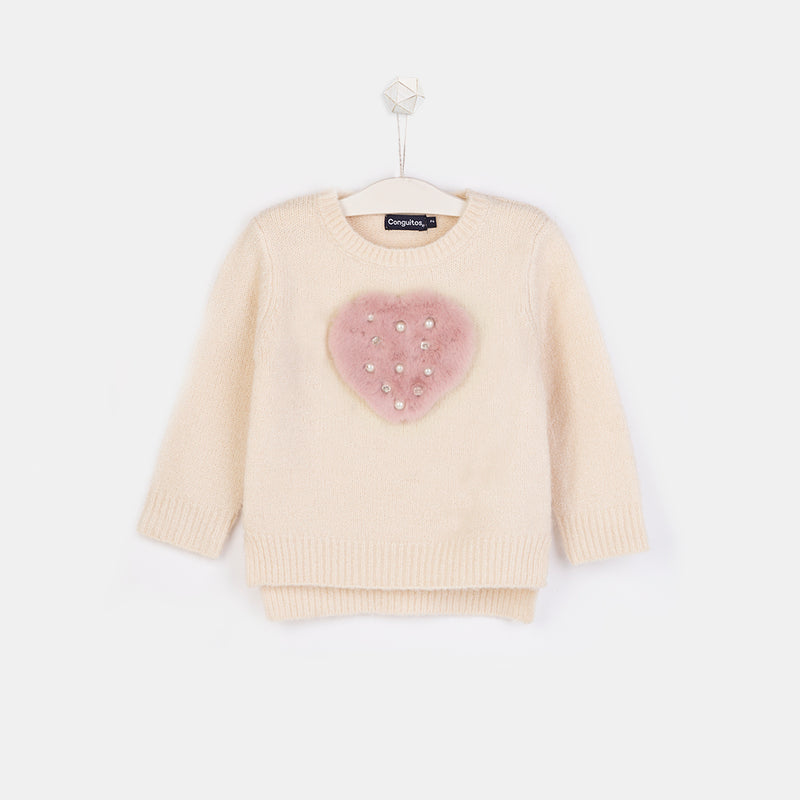 Girls Heart Faux Fur Ecru Sweater