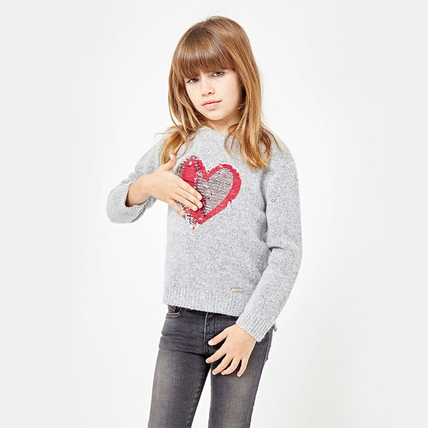 "Girls ""Sequins Heart"" Grey Sweater"