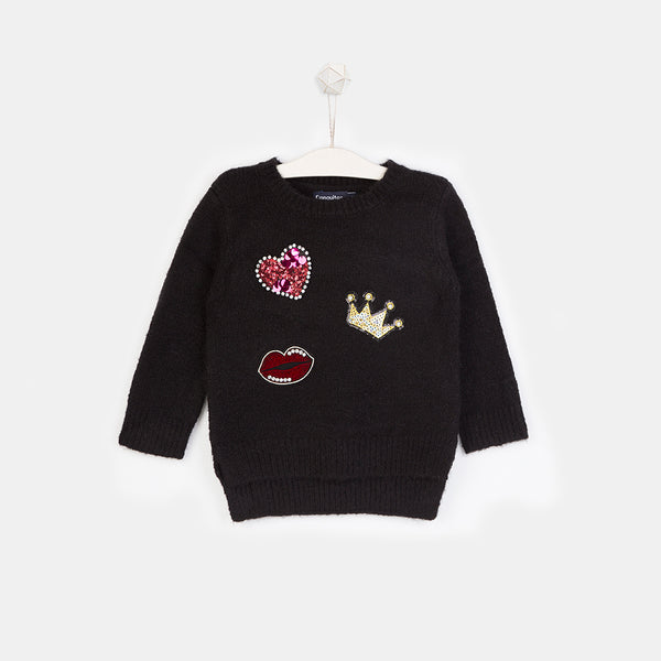 Girls Patches Black Sweater