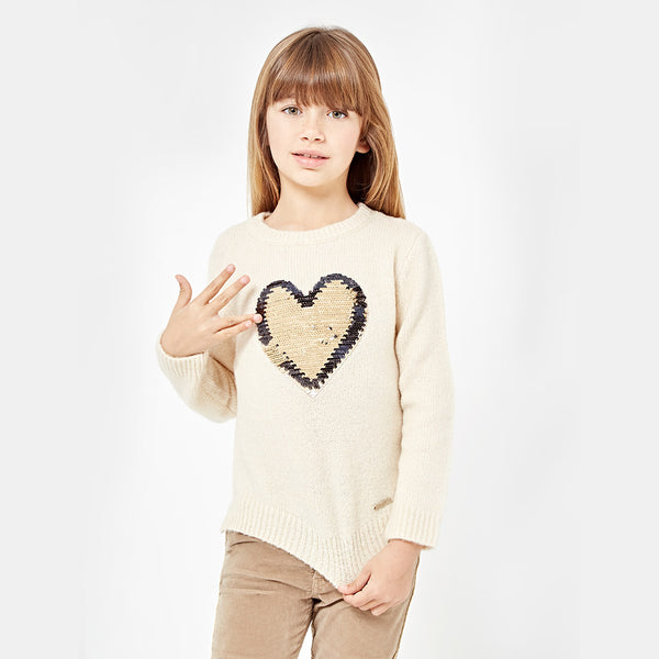 "Girls ""Sequins Heart"" Ecru Sweater"