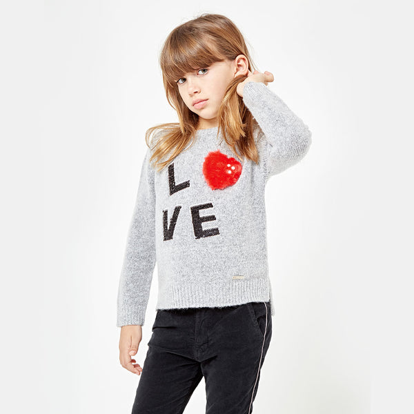 Girls Love Grey Sweater