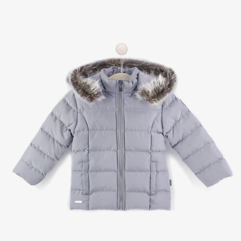 Girls Grey Faux Fur Anorak