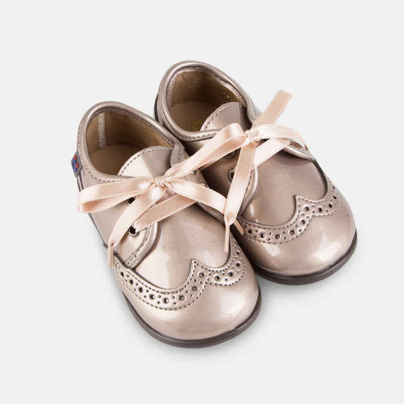 Babies Taupe Patent Leather Shoes