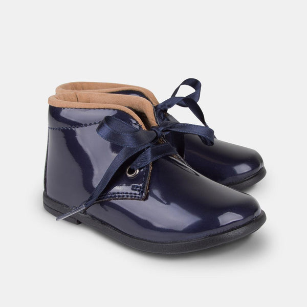 Babies Navy Patent Leather Boots