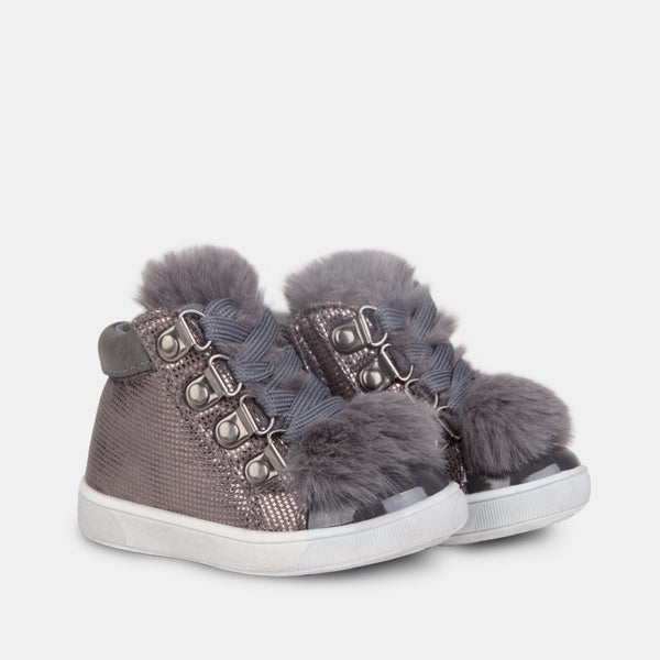 Babies Fantasy Grey Faux Fur Booties