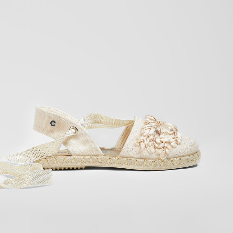 Girl's Platinum Embroidery Espadrilles