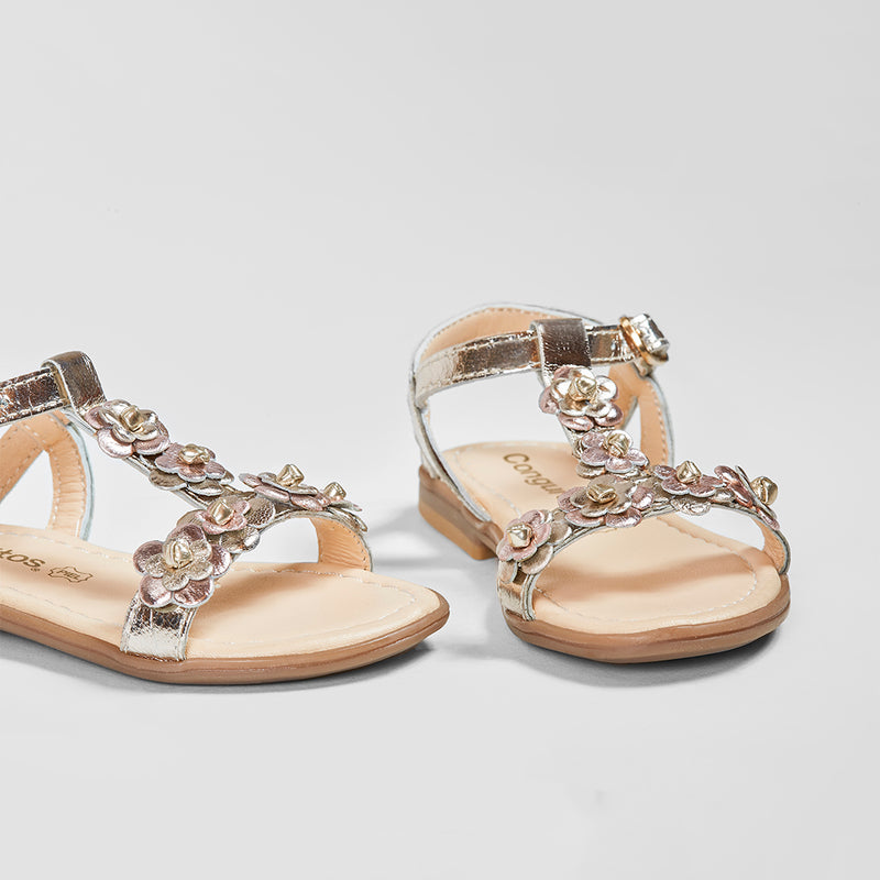 Girl's Metallic Flowers Leather Sandals