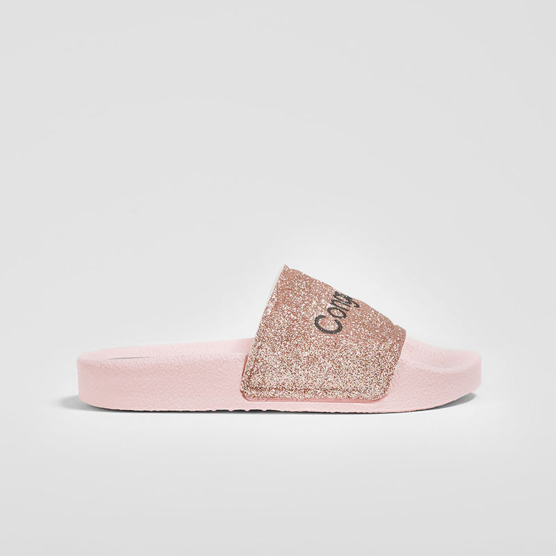 Girl's Pink Glitter Rubber Sandals