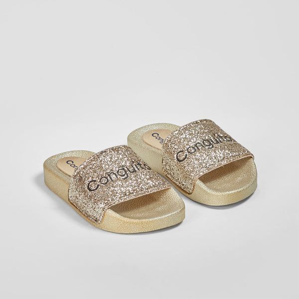 Girl's Platinum Glitter Rubber Sandals