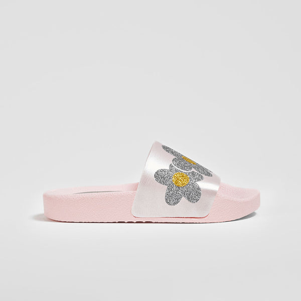 Girl's Flowes Pink Glitter Rubber Sandals