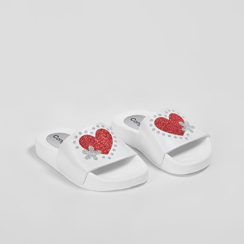 Girl's White Glitter Rubber Sandals