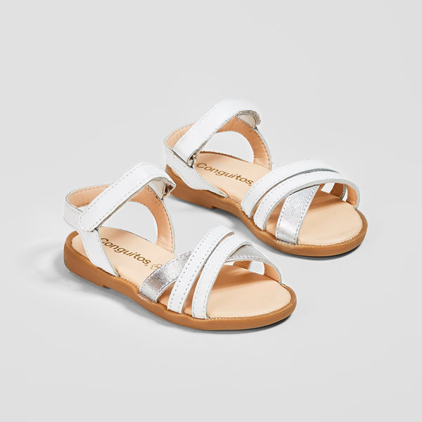 Girl's White Strips Leather Sandals