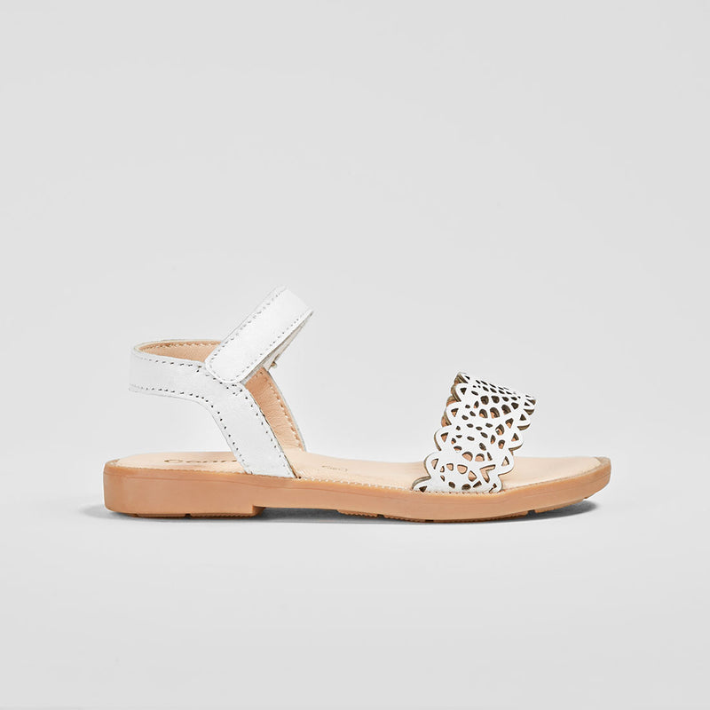 Girl's White Leather Sandals