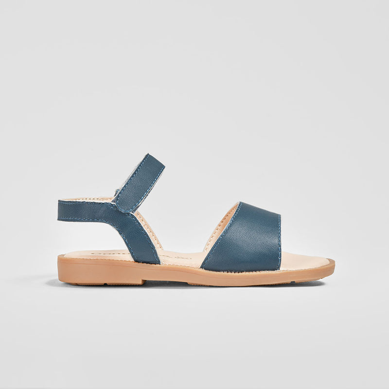 Girl's Navy Leather Sandals