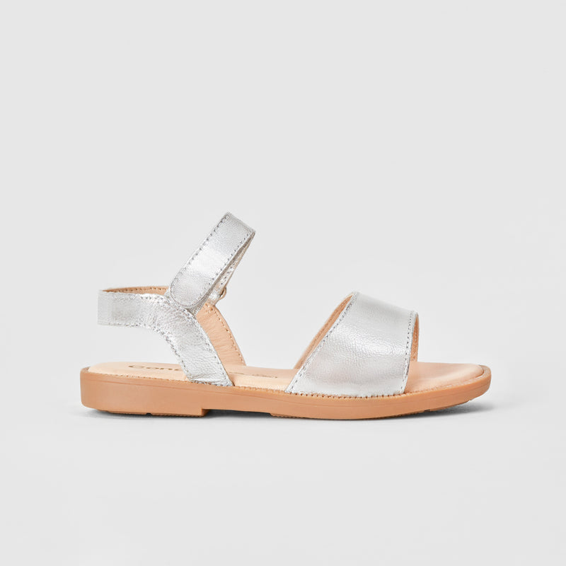 Girl's Silver Leather Sandals