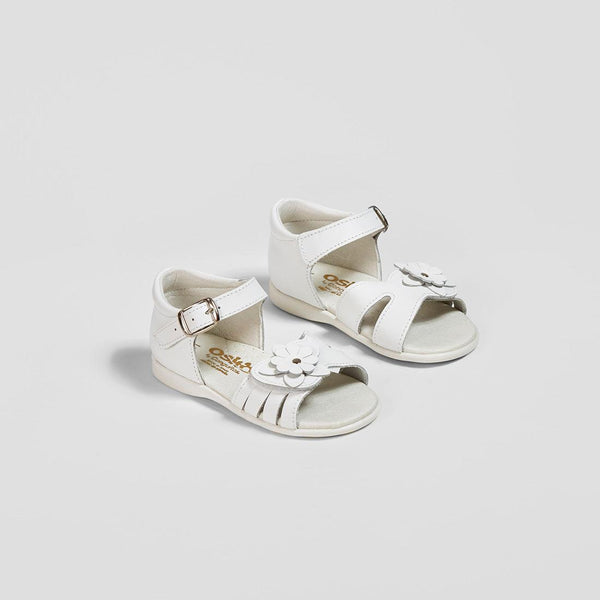 Babies White Flower Leather Sandals