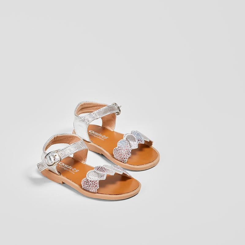 Baby's Metallic Silver Hearts Sandals