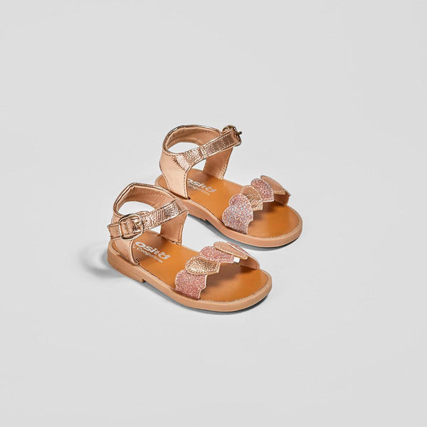 "Baby's ""Hearts"" Metallized Magnesium Sandals"