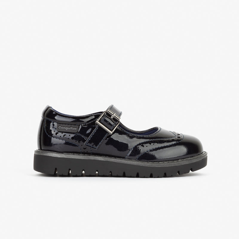 Girl's Navy Patent Leather Mary Janes