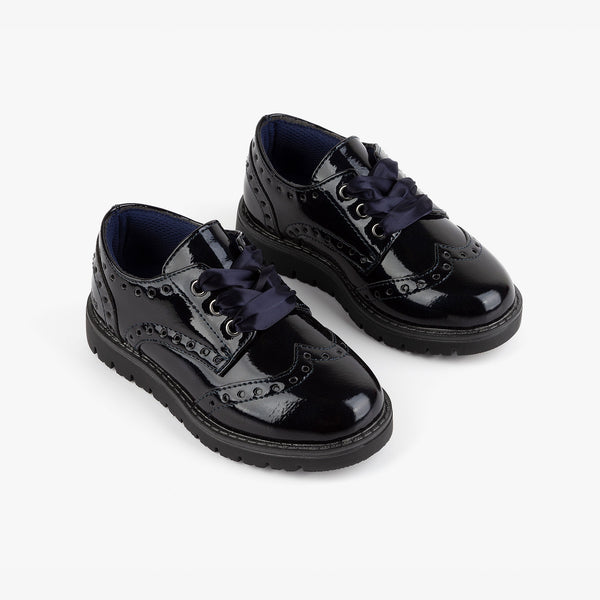 Girl's Navy Patent Leather Oxford Shoes