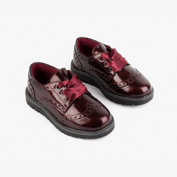 Girl's Bordeaux Patent Leather Oxford Shoes