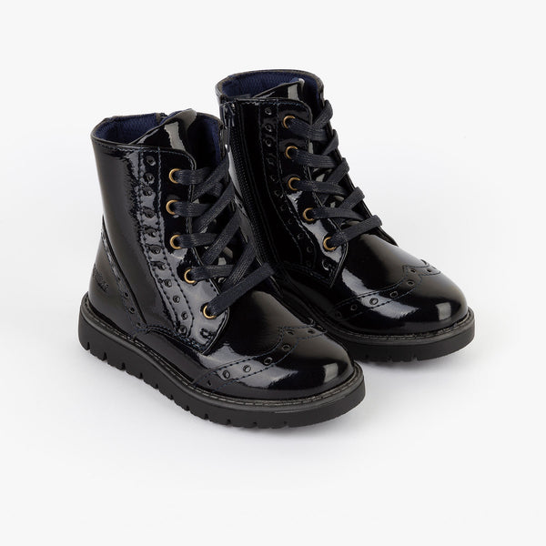 Girl's Navy Patent Leather Boots