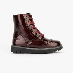Girl's Bordeaux Patent Leather Boots