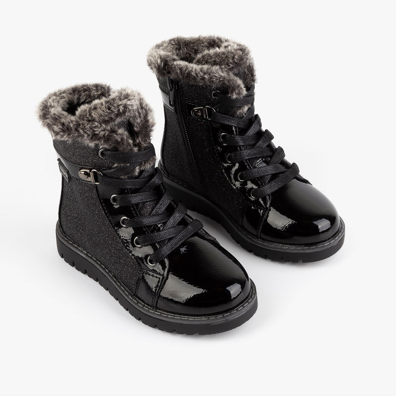 Girl's Black Patent Leather with Glitter Boots