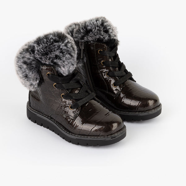 Girl's Grey Coco Patent Leather Boots