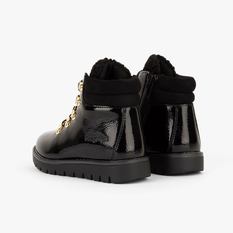 Girl's Black Patent Leather Booties