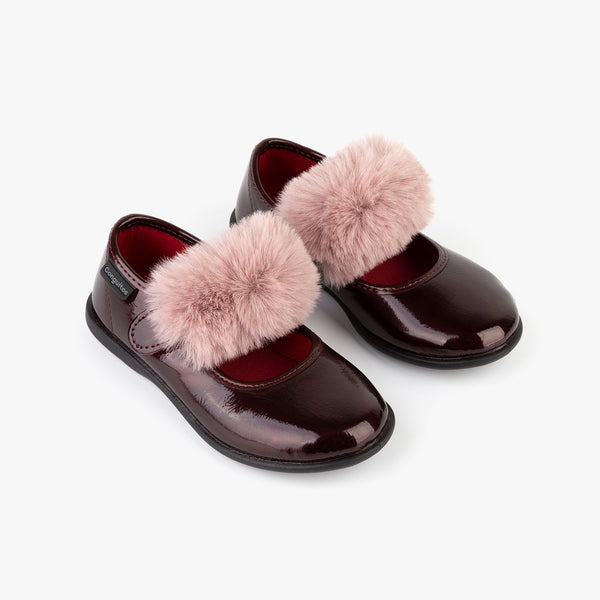Girl's Bordeaux Patent Leather Mary Janes with Pompom