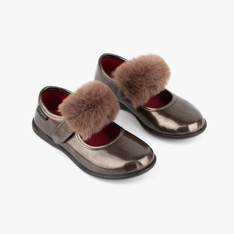Girl's Titanium Patent Leather Mary Janes with Pompom