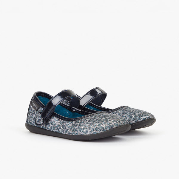 Girl's Lead Glitter Mary Janes with Leopard Print