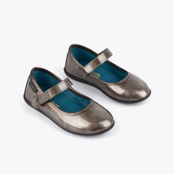 Girl's Titanium Patent Leather Mary Janes