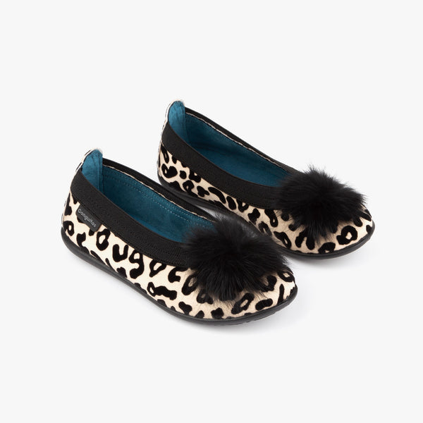 Girl's Taupe Leopard Print Ballerinas with Pompom