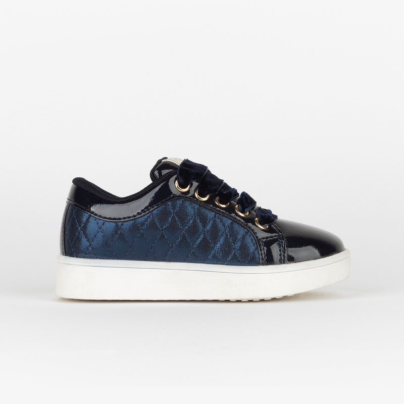 Girl's Navy Quilted Sneakers