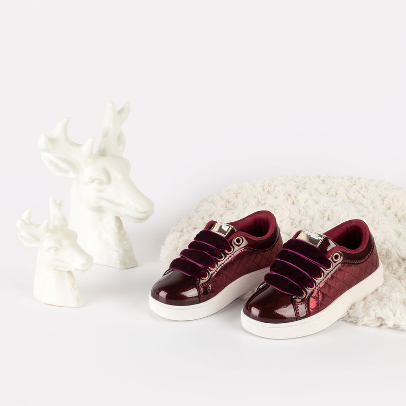Girl's Bordeaux Quilted Sneakers