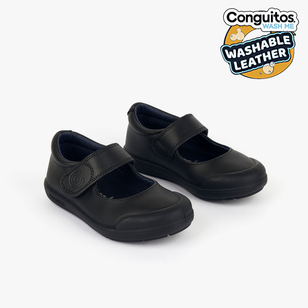 Girl's Navy Washable Leather School Shoes
