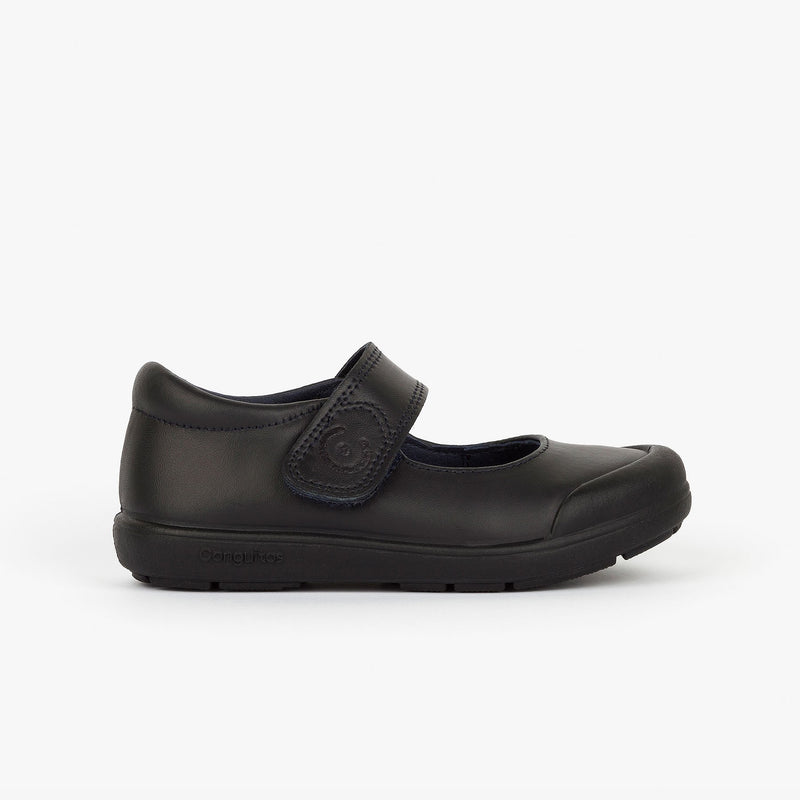 Girl's Black Washable Leather School Shoes