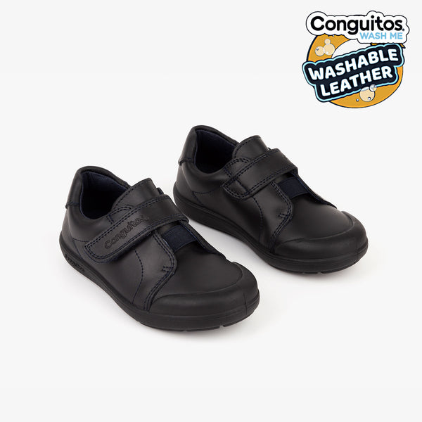 Boys Navy Washable Leather School Shoes
