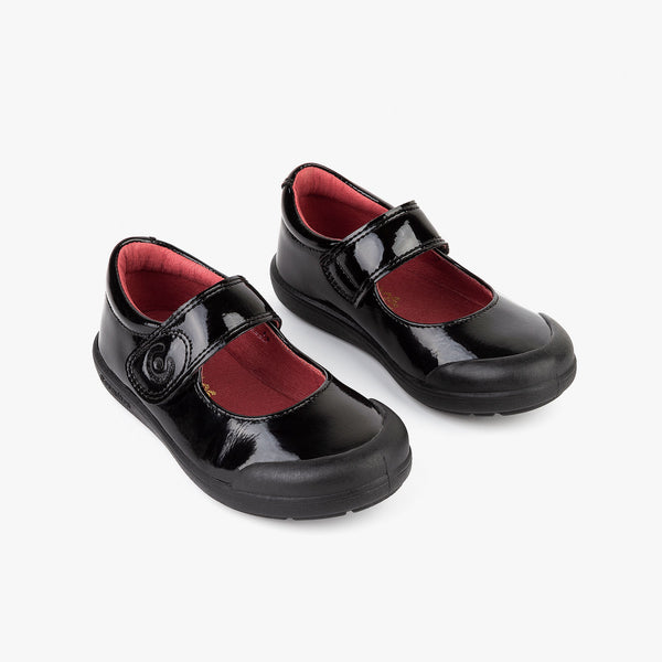Girl's Black Patent Leather Reinforced Mary Janes