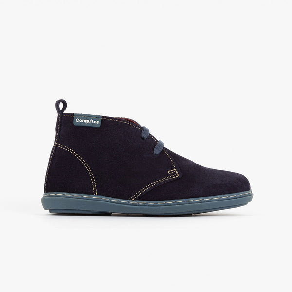 Boy's Navy Suede Safari Boots