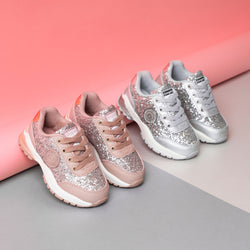 Girl's Pink Glitter Sneakers with Lights