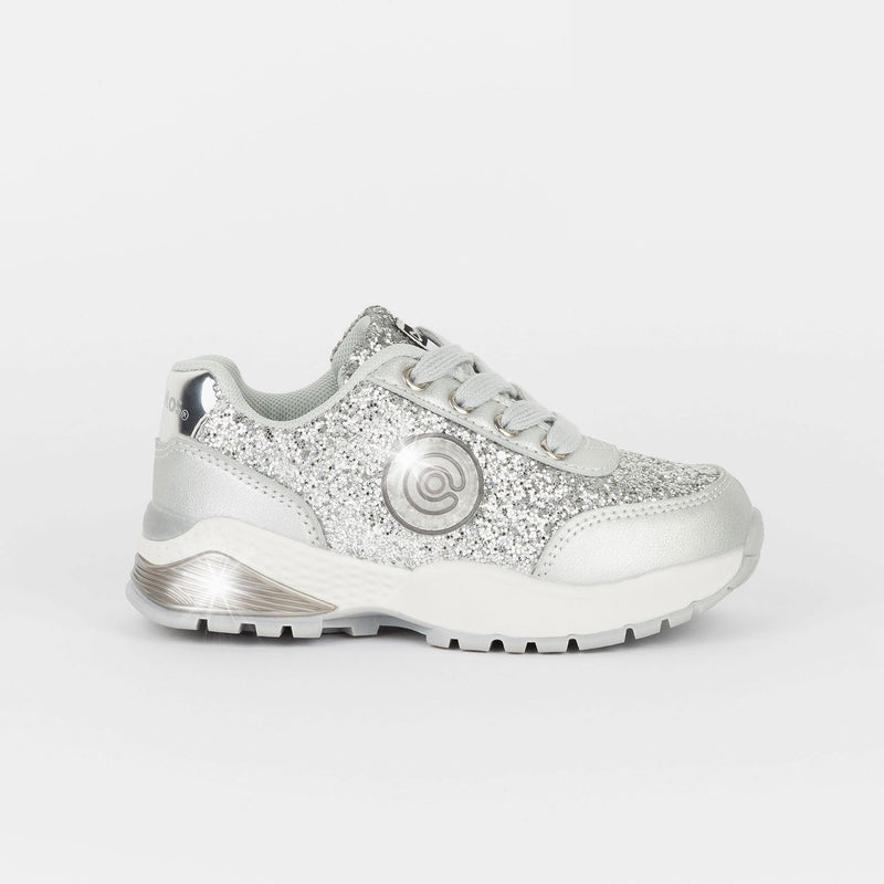 Girl's Silver Glitter Sneakers with Lights